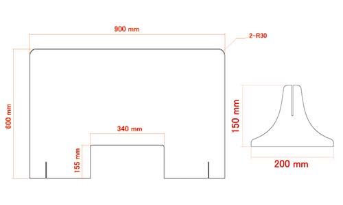 飛沫感染・接触感染を防ぐためのオリジナル印刷ができる激安アクリルパーテーション Lサイズ