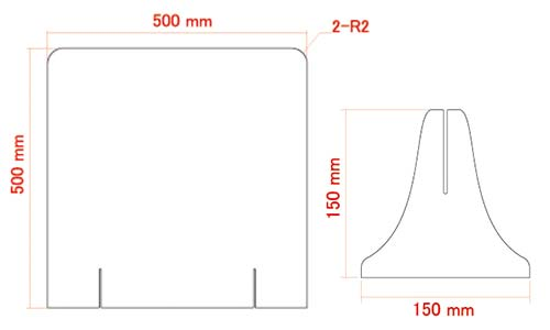 飛沫感染・接触感染を防ぐためのオリジナル印刷ができる激安アクリルパーテーション Mサイズ